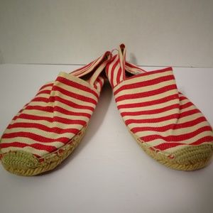 SOLUDOS Espadrilles Flats Shoes Red White Striped
